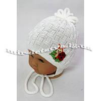 """Детские шапочки для новорожденных оптом. Весна-осень. """"Божья коровка"""" р.40-44 белый, малина"""