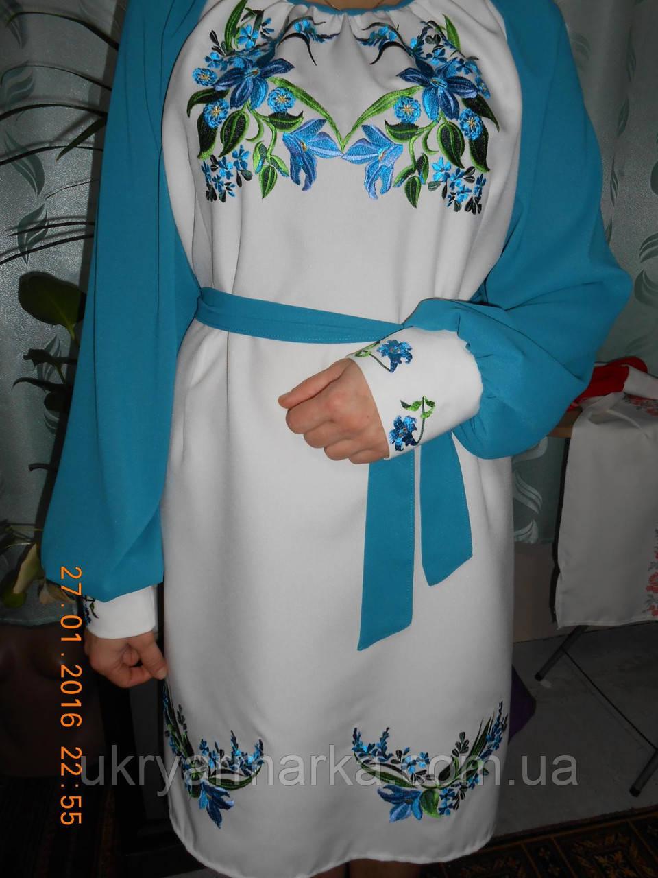 """Вишита жіноча сукня """"Казкова """" голуба"""