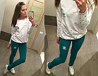 Костюм спортивный женский из двухнитки с принтом Adidas P866, фото 1