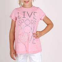 Итальянская туника для девочки, впереди надпись и сердечко с камнями дев. розовый 100%  хлопок