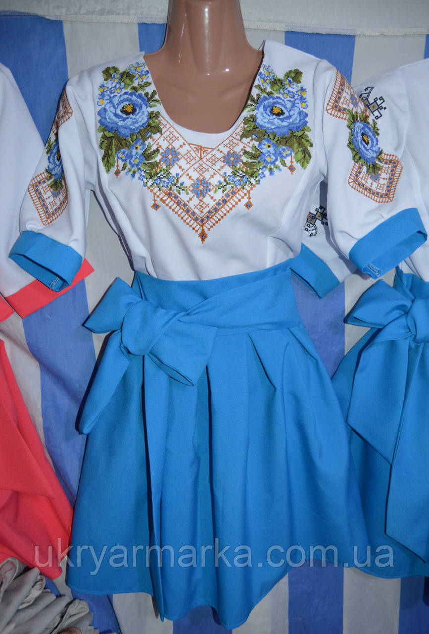 """Вишите плаття """"Свято"""" голубе"""