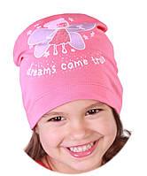 Трикотажная тонкая шапка для девочки, р. 54-56 см