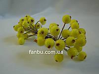 Штучні зацукровані ягоди для декору жовті d=1,2 см (1 упаковка - 40 ягідок), фото 1