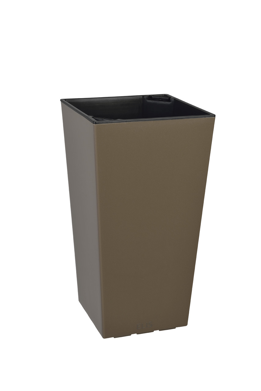 Умный вазон ELISE 20х20х36 см  матовый PLASTKON Коричневый