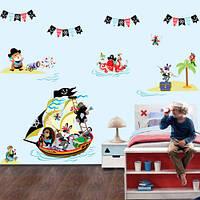 Интерьерная виниловая наклейка для детей Пираты (морская тематика корабль) матовая 1220х730 мм, фото 1