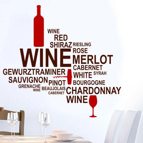 Интерьерная наклейка надпись на кухню Вино (самоклеющаяся пленка, облако слов, текст, декор кухни стены обои)