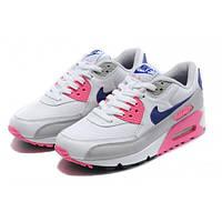 Кроссовки женские Nike Air Max 90 White/ Grey Blu/ Purple для спорта, активного отдыха
