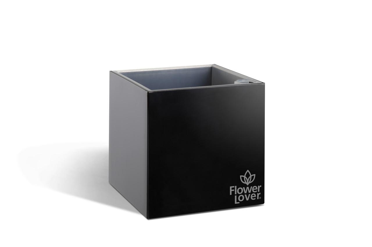 Умный вазон с системой автополива Cubico Flower Lover 14x14x14 глянецевый Plastkon Черный