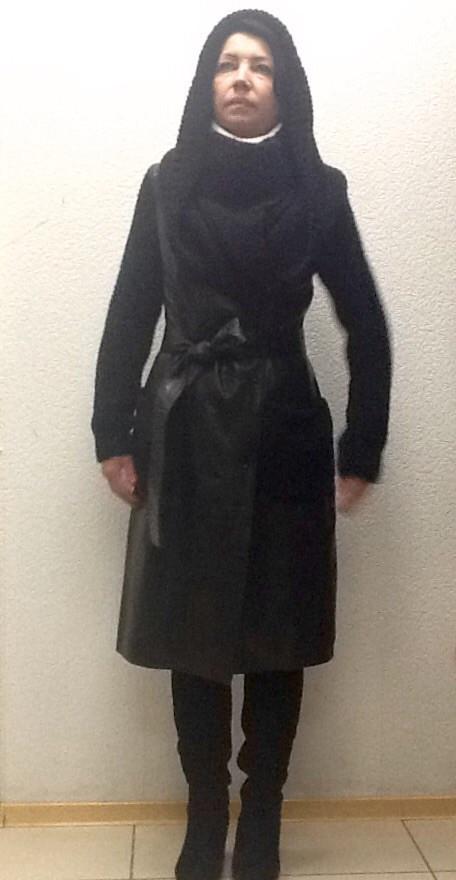 Пальто кожаное натуральное женское Punto черный