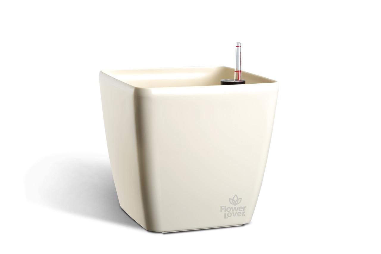 Умный вазон с системой автополива Quadrato  Flower Lover 34x34x32 см  глянецевый PLASTKON