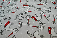 Ткань с аистами на светло-сером фоне (№106).