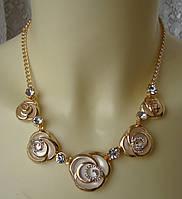 Ожерелье женское колье с подвесками розы ювелирная бижутерия 5577