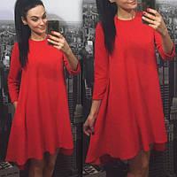 Женское платье свободного кроя красное