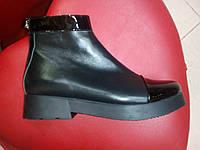 Демисезонные  ботинки из натуральной кожи  с лаковыми вставками LEXI