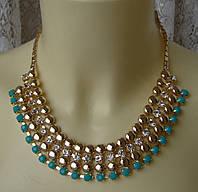 Ожерелье женское колье металл кристаллы ювелирная бижутерия 5584, фото 1