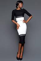 """Женский костюм с юбкой, текстурный трикотаж """"соты"""", кружево. В наличии 3 цвета"""