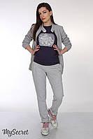 """Стильные спортивные брюки для беременных """"Sonic"""", серый меланж"""