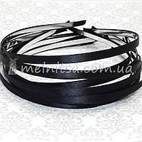 Ободок для волос с черной атласной лентой, 6 мм