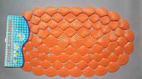 Коврик силиконовый антискользящий для ванны, ракушки, оранжевый