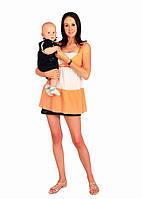 Туника белая с персиковым для беременных и кормления
