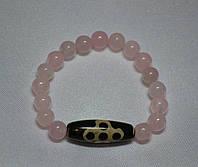 Браслет Розовый кварц с бусиной дзи Мистический узел