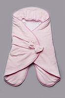 Велюровый детский конверт-кокон для сна на девочку | Розовый, фото 1