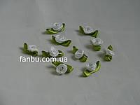 Маленькая тканевая розочка белая 1.3см*2см(1 упаковка 10розочек)