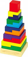 Деревянная игрушка МДИ Пирамидка «Квадрат» Д007