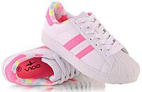 Кроссовки для девочек белые с розовыми вставками