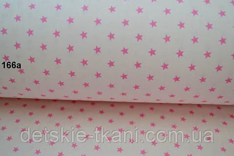 Ткань с розовыми звёздочками на розовом фоне (№166а).