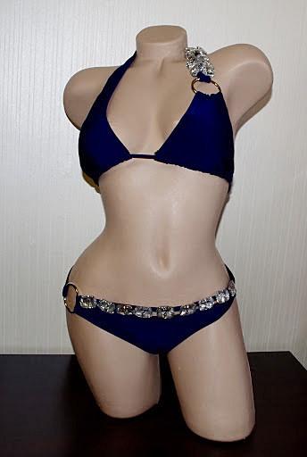 Раздельный женский синий купальник с камнями