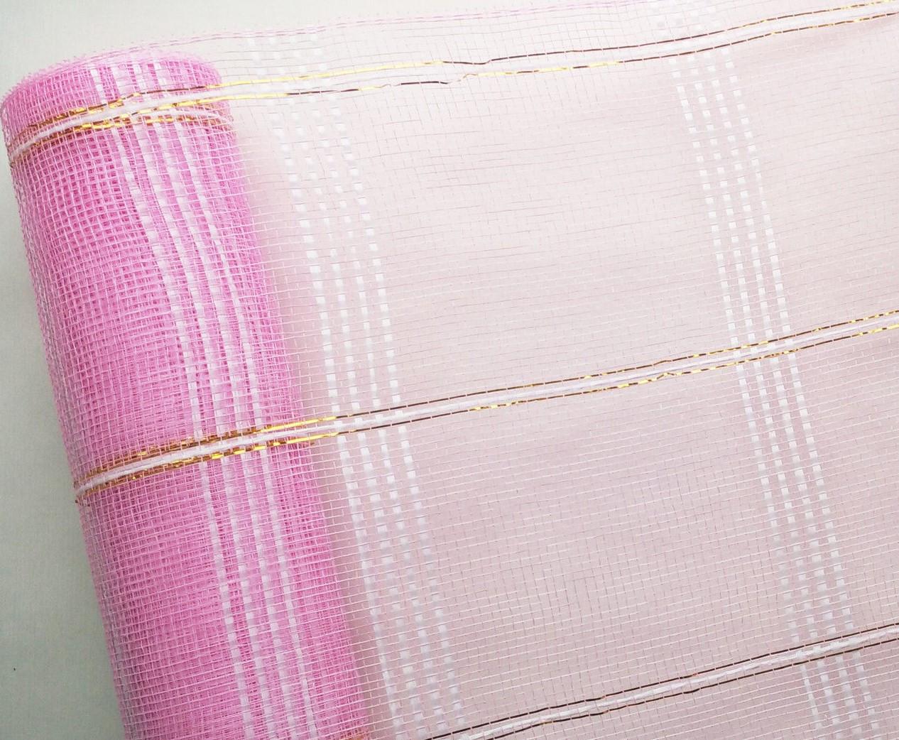 Сетка флористическая Check mesh шотландка розовая