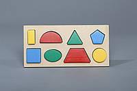 Дерев'яна гра Komarovtoys «Рамка-вкладиш Геометричні фігури 8» (A327)