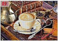 """Набор вышивка бисером """"Кофейный натюрморт"""" А4 (частичная зашивка)"""