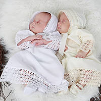 Детская шапочка Ажурная от Miminobaby кремовая 36-40см