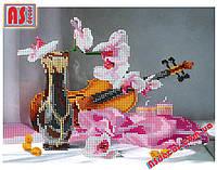 """Набор вышивка бисером """"Орхидея и скрипка"""" А4 (частичная зашивка)"""