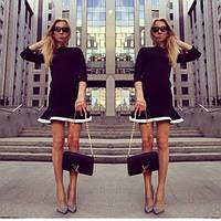 Черное короткое платье с белой оборкой №18812,скл№12