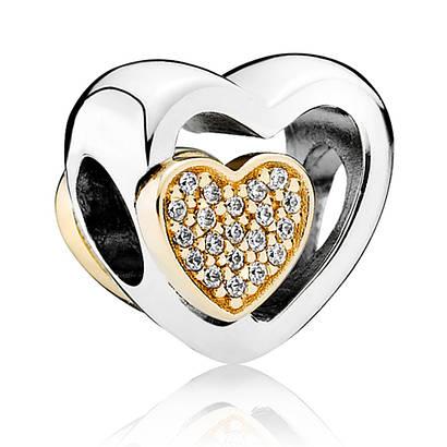 Подвеска-шарм «Союз любящих сердец» из серебра 925 пробы с золотом в стиле Pandora