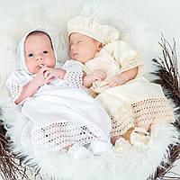 Детский берет Ажурный от Miminobaby кремовый  48-52