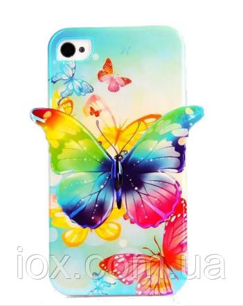 Силиконовый синий чехол бабочка для Iphone 5/5S