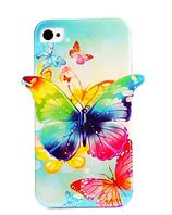 Силиконовый синий чехол бабочка для Iphone 5/5S, фото 1