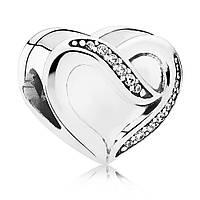 Подвеска-шарм из серебра Лента любви пандора