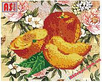 """Набор вышивка бисером """"Персики"""" А4 (частичная зашивка)"""