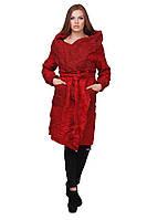 Стильное женское шерстяное пальто на запах   Красное, фото 1