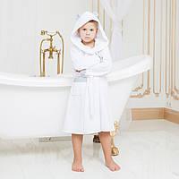 Халат детский махровый с капюшоном для мальчика DANIEL 0-12 мес.
