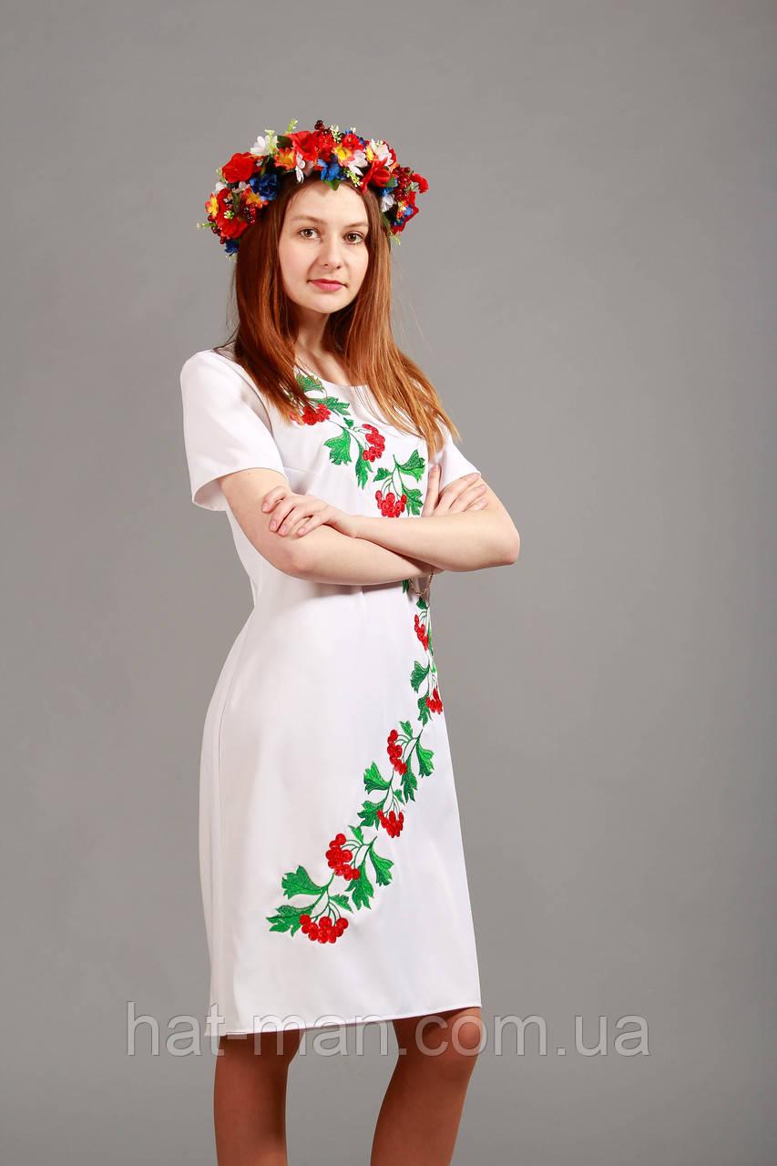 """Сукня """"Калинка"""", стрейч, біле"""
