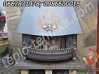 Декоративный газовый чугунный камин конвектор зрелищного типа с эффектом горения дров