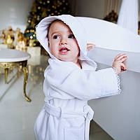 Халат детский махровый с кружевом для девочки MARI 0-12 мес.