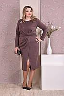 Стильное платье батальных размеров 0198 коричневое