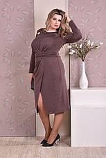 Стильное платье батальных размеров 0198 коричневое, фото 2